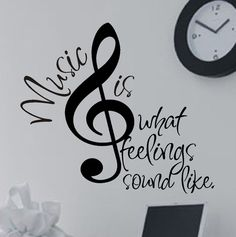Vinyl Wall Lettering Quotes Decals Stickers Treble or Bass Clef Music is...