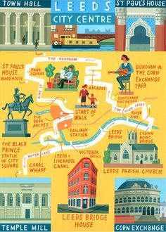 Leeds map - 'Walk of the Month' - The Daily Telegraph - Acrylic on paper - John Montgomery. Leeds England, England And Scotland, England Uk, Leeds Map, Leeds City, Travel Maps, Travel Posters, Travel Illustration, West Yorkshire