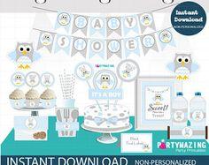 SALE Boy Baby Blue Owl Baby Shower Set, Printable Baby Shower, Full Party Decoration Kit, Instant Download, Woodland Baby Shower -D815 BBOB1