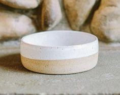 Stoneware Ceramic Dog Bowl // White and Clay // Pottery Dog Bowl