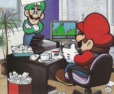 Mario hard at work.