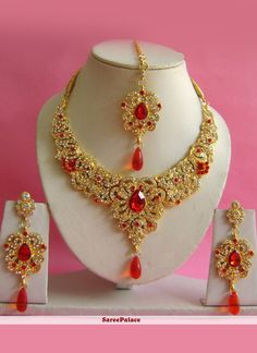 Buy Stone Work Gold and Red Necklace Set Online Gold Wedding Jewelry, Bridal Jewelry, Pink Necklace, Necklace Set, Stylish Jewelry, Unique Earrings, Indian Jewelry, Fashion Necklace, Stone Work