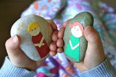 story stones: modge podge with fabric