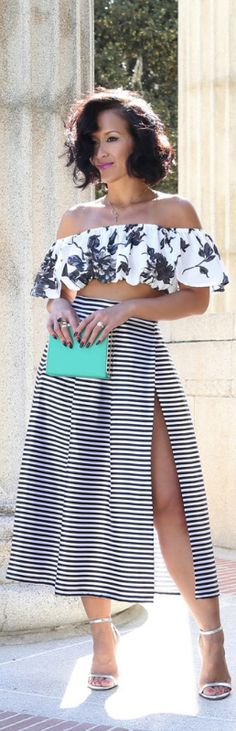 The Stripes Midi High Slit Skirt / Fashion By KTRStyle