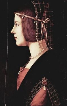 It's About Time: Women in Profile - Italian Renaissance Portraits-Ambrogio de Predis (1455-1508)  Beatrice Il d'este c. 1490... A contemporary looking beauty