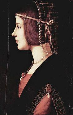It's About Time: Women in Profile - Italian Renaissance Portraits-Ambrogio de Predis (1455-1508)  Beatrice Il d'este c. 1490... A contemporary looking beauty