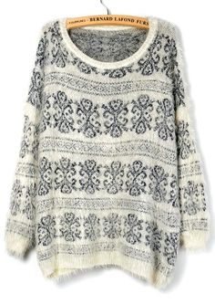 White Long Sleeve Floral Loose Pullover Sweater - Sheinside.com