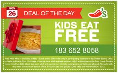 CHILI'S $$ Holidaily – Today's Coupon: Kids Eat FREE!