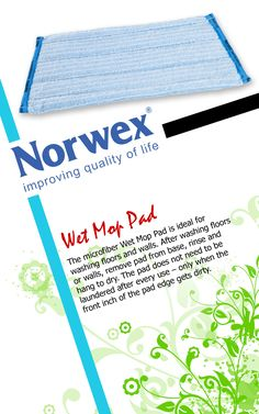 """Norwex #Wet #Mop (www.norwex.com) Norwex microfiber Wet Mop Pad is ideal for washing floors and walls. After washing floors or walls, remove pad from base, rinse and hang to dry. The pad does not need to be laundered after every use – only when the front inch of the pad edge gets dirty. Small: 14cm x 33cm / 5"""" x 13""""  Large: 14cm x 52cm / 5"""" x 20"""" Used for: * Ceramic tiles * Porcelain tiles * Porous tiles * Vinyl * Linoleum * Hardwood floors * Marble * Laminate flooring"""