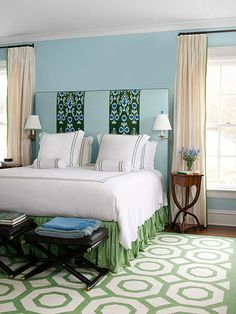 Green is alwasy soothing in a bedroom! Click through for more of our favorite schemes here: http://www.bhg.com/decorating/color/schemes/color-combos-using-green/?socsrc=bhgpin101214greenbedroom&page=3