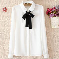 Barato Plus Size manga longa camisa mulheres blusas 2015 primavera verão camisa branca preta laço Chiffon blusa mulheres gravata borboleta blusa Tops CS11, Compro Qualidade Blusas diretamente de fornecedores da China: