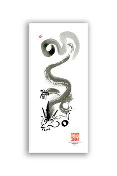 Dragon Chinese New Year Card, Postcard, Chinese Zodiac, House Targaryen, japanese style painting, taoist art, birthday card, Free shipping by ZenBrush