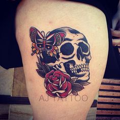 Aaron Ashworth is an Australian tattoo artist specialising in old school and Japanese traditional tattoos. Check out this cool skull&rose we picked today.
