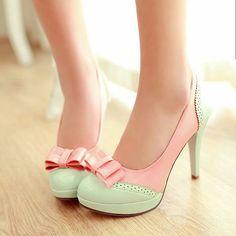 Mint pembe fiyonklu topuklu ayakkabı #heels #sweet