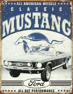 Classic Mustang Emaille bord - bij AllPosters.be