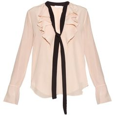 Chloé Ruffle-trimmed long-sleeved silk blouse ($749) ❤ liked on Polyvore featuring tops, blouses, shirts, blusas, shirt blouse, long sleeve ruffle blouse, long sleeve silk blouse, pink ruffle blouse and silk shirt