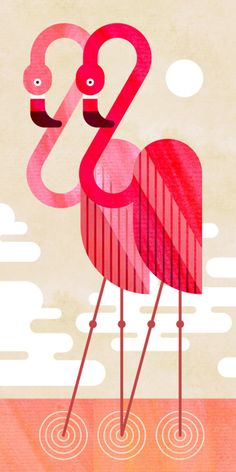 'Flamingos' by Scott Partridge Flamingo Illustration, Graphic Illustration, Graphic Art, Flamingo Logo, Flamingo Art, Charley Harper, Conversational Prints, Arte Floral, Retro Art