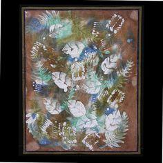 Fiber Art by Heidi - Art Quilt, Soy Wax Batik Brown Blue and Green, Memory of a Woodland Walk