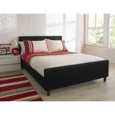 Sorrento Upholstered Black Bed Double at wilko.com