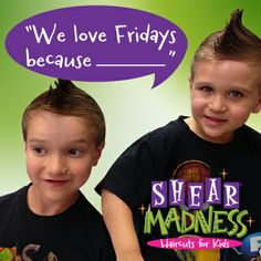 Enter to WIN a Free Haircut on our facebook today! #TGIF #freehaircutfriday #shearmadnesskids https://www.facebook.com/shearmadnesskids