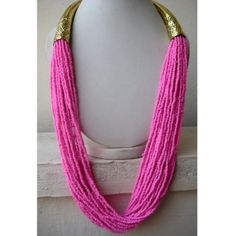 Statement Necklace/Long Necklace/Neon Pink by FootSoles on Etsy, $28.90