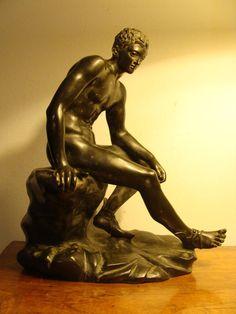 Jugendstil Bronze Figur Hermes Merkur Gott Akt Götterbote museal um 1900
