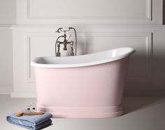 Our Tubby Torre shown in pink, find out more on our website http://www.albionbathco.com/free-standing-roll-top-bath/roll-top-bath-tubby-torre/tubby-torre-bath-tub.html