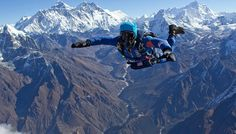 Everest skydiving, Best Places In The World To Go Skydiving, Best Places To Skydive In The World Rishikesh, Best Places To Skydive, Places Around The World, Around The Worlds, Nepal Mount Everest, Abseiling, Rock Climbing Gear, Roller Coaster Ride, Bungee Jumping