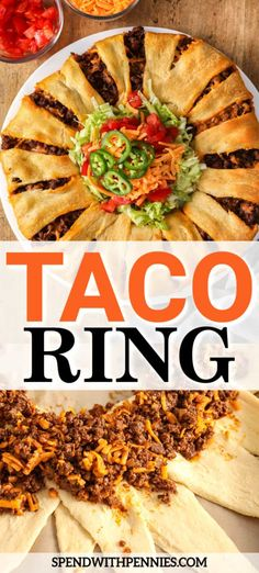 This taco ring recipe is beefy, crunchy, and so easy to prepare. Made with crescent rolls, seasoned beef, and delicious seasonings this party appetizer is always a hit! Beef Recipes, Mexican Food Recipes, Dinner Recipes, Cooking Recipes, Healthy Recipes, Ethnic Recipes, Yummy Recipes, Taco Ring Recipe, Crescent Roll Recipes