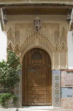 Door on a place in Quazzane, Morocco