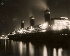 United States Lines LEVIATHAN night departure 1926 via Todd Neitring