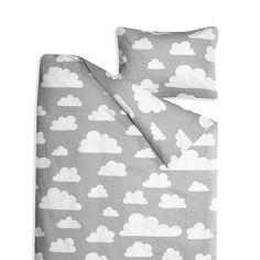 Bedding Set  .  Clouds / Grey - Toddler / Cotbed