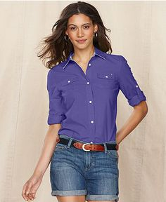 Tommy Hilfiger Shirt, Long-Sleeve Cotton Button-Down - Tops - Women - Macy's - NEED