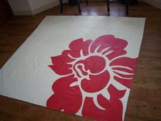 My super cute sister-in-law Jaci knows a good thing when she sees it and wanted a canvas rug :) Just kidding . She agreed to become my guin. Painted Floor Cloths, Painted Rug, Painted Floors, Drop Cloth Rug, Canvas Drop Cloths, Stenciled Curtains, Diy Curtains, Drop Cloth Projects, Paint Drop