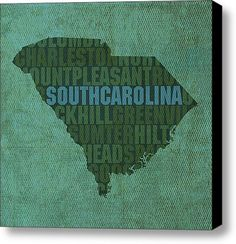 South Carolina Word Art State Map On Canvas Canvas Print Canvas Art By Design Turnpike