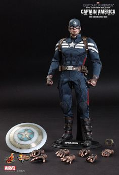 """hot toys captain america stealth s. suit sixth scale figure""""i joined s.""""in the exciting film captain america: the winter soldier by marvel studios, captain america has joined s. Marvel Captain America, Toy Art, Soldier Action Figures, Stealth Suit, Videogames, Transformers, Steve Rogers, Comic Book Heroes, Marvel Dc Comics"""
