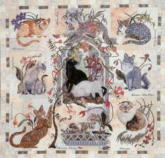 My Cats Garden, 52 x 50, by Maggie Walker - Wish I could make something like this for Janie & Michele