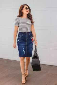 30 Gorgeous Denim Skirt Outfits Copy Right Now Modest Clothing, Modest Outfits, Modest Fashion, Skirt Fashion, Summer Outfits, Casual Outfits, Fashion Outfits, Casual Skirts, Denim Skirt Outfits