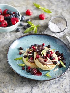 Sourdough crumpets – chocolate, hazelnut and mixed berries, shot for Jamaica Blue Foodco, Styled by Stephanie Souvlis