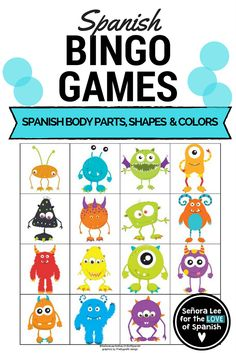 """Build listening skills while practicing Spanish parts of the body, shapes, numbers and colors! Read a sentence in Spanish that describes a monster while students look for the monster that meets the description. Example: """"Soy un cuadrado verde. Tengo dos ojos grandes, dos orejas y dos dientes."""" Includes: 30 large bingo cards (printed 1 per page), vocabulary list and 2 types of call lists. Spanish-Monster-Bingo-Spanish-Parts-of-the-Body-Shapes-Numbers-Colors"""