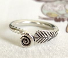 Handmade Sterling Silver Spiral Feather Wrap around Ring, Boho Tribal Women's or Men's Ring for any Finger, Fit also Toe or Thumb Ring Hand Symbols, Feather Ring, Thumb Rings, Silver Jewelry, Unique Jewelry, Boho Rings, Handmade Sterling Silver, Spiral, Jewelry Collection