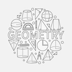 Geometry round symbol - vector math circle background made with outline geometric shapes - stock vector Decorate Notebook, Diy Notebook, Notebook Covers, Binder Covers, Math Formulas, School Notebooks, School Subjects, Middle School Science, Study Notes