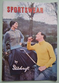Sportswear in Knitting by Stitchcraft Vintage 40s 50s Knitting Book Booklet 1940s 1950s original patterns - swim suit cardigans jumpers etc