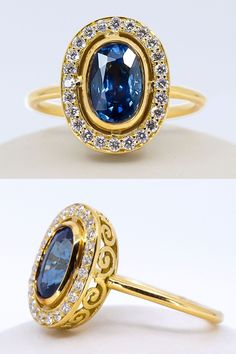 A regal elongated oval sapphire sits proudly guarded by layers of 18k yellow gold and twenty-four post-consumer reclaimed round brilliant cut diamonds. It's truly a treasure to be worn every day, thanks to the low profile setting. Still, it's beauty's displayed from every angle. From the front it's illustrious, a prized possession, yet along the sides delicate scroll filigree allows for that pop of ornamental glamour among the minimal meets vintage look. Budget Friendly Engagement Rings, Moissanite Rings, Dream Ring, Blue Sapphire, Filigree, Diamond Cuts, Gemstone Rings, Layers, Minimal