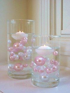 80 Light Pink/Baby Pink and White Pearls Jumbo and Assorted Sizes - Vase Fillers Value Pack.To Float the Pearls, you will need to order the Transparent Water Gels Separately. Shower Party, Baby Shower Parties, Baby Shower Themes, Bridal Shower, Shower Ideas, Pearl Baby Shower, Shower Cake, Do It Yourself Baby, Fiesta Baby Shower