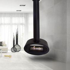 Ceiling bioethanol fireplace in black steel with a burner. Floating Fireplace, Hanging Fireplace, Bioethanol Fireplace, Ceiling Hanging, Thing 1, Home Appliances, Steel, Loft, Unique