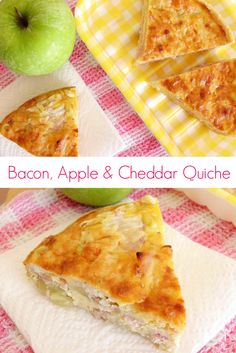 #Bacon, Apple and Cheddar Quiche #Recipe - whether it's for breakfast, brunch, lunch or dinner, this quick and easy quiche is sure to be a crowd pleaser! The flavours sound really weird, but they work so well together! | www.pinkrecipebox.com