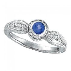 0.14 ct G-H SI Tanzanite Bezel Ring with Diamond In 14K White Gold R6303WTZ
