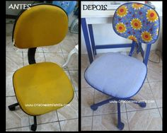 Cadeira de escritório transformada com  PAP / tutorial