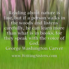 Reading about nature is fine, but if a person walks in the woods...